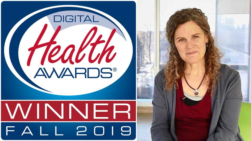 Dementia Advisor App logo and Winner of Digital Health Awards 2017 notice