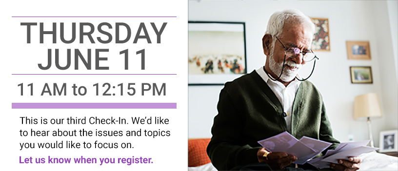 Banner with senior male caregiver for June 11 Caregiver Check-In event